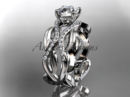 14kt white gold diamond leaf and vine wedding set, engagement set ADLR264 - $2,045.00