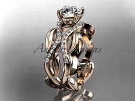14kt rose gold diamond leaf and vine wedding set, engagement set ADLR264 - $2,045.00