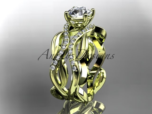 G264 yellow gold  diamond wedding ring  diamond engagement ring  forever brilliant moissanite  1