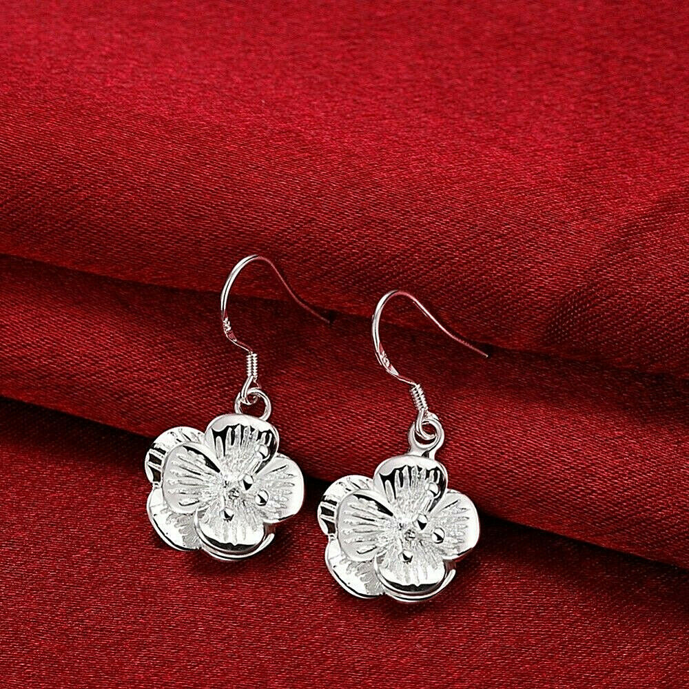 Primary image for Flower Drop Earrings 925 Sterling Silver NEW