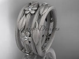 14kt white diamond leaf and vine, floral wedding ring, engagement ring ADLR242 - $1,100.00