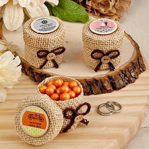 100 Personalized Round Burlap Boxes Wedding Shower Party Favor Bulk Event Gift