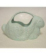 Ceramic Basket Rabbit Motif Hand Crafted Pottery - $44.54