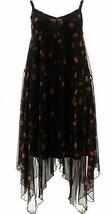 Nina Leonard Adjustable Strap Asymmetric Powermesh Dress Black 1X NEW 69... - $20.77