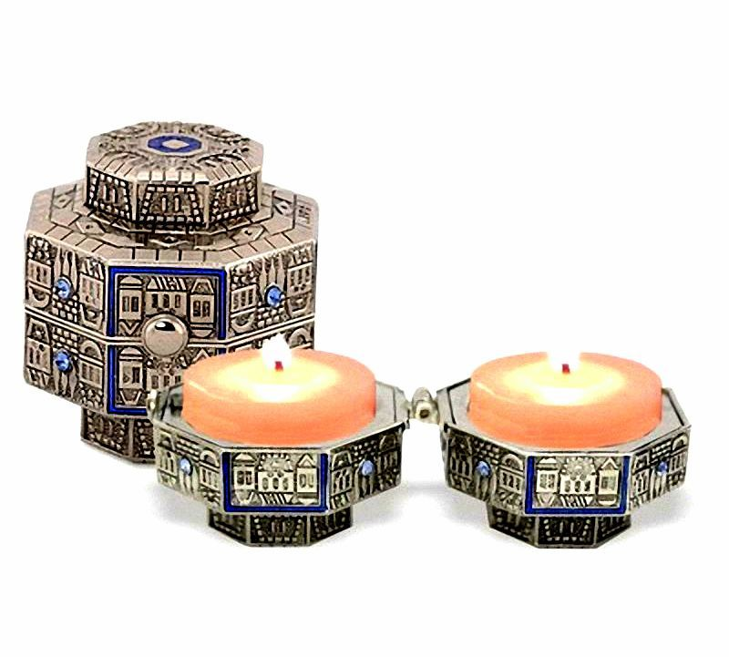 Judaica Nickel Plated Travel Candle Holders Octagon Enamel Decor Shabbat Holiday
