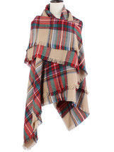 Colorful Plaid Tassel Hem Soft Wrap Scarf - $18.50