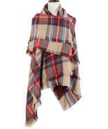 Colorful Plaid Tassel Hem Soft Wrap Scarf - £14.19 GBP