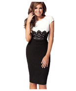 Women Sexy Crochet Lace O Neck Knee Length Fitted Evening Pencil Dress - $13.99