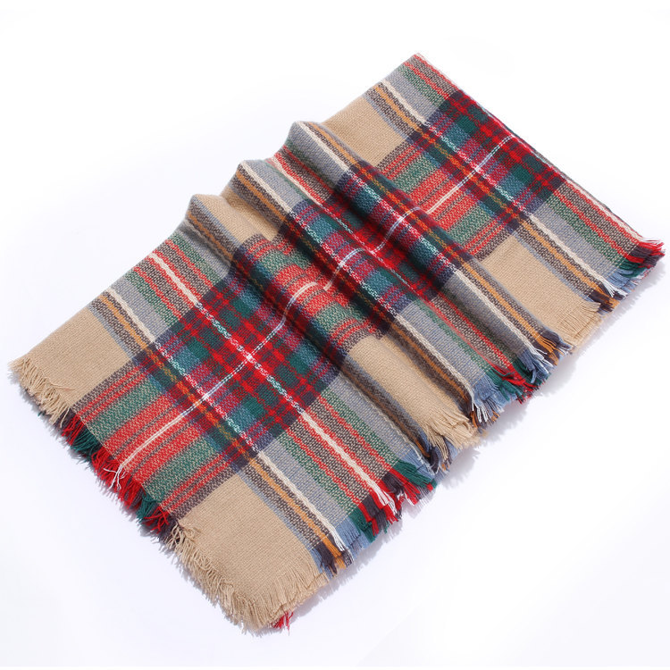 Colorful Plaid Tassel Hem Soft Wrap Scarf