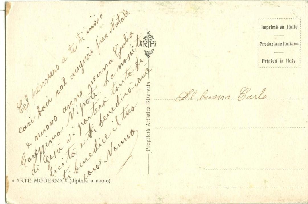 Buon Natale, Camels in Desert, Arte Moderna, Dipinta a mano early 1900s Postcard