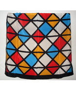 Echo Geometric Print Silk Scarf Black White Blu... - $14.99