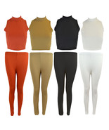 NEW WOMEN LADIES RIBBED TWO PIECE POLO NECK CROP TOP LEGGINGS TROUSER 8-... - $15.53