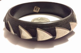 Vintage black wooded carved bangle bracelet with inlaid stainless steel ... - $19.00
