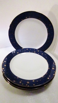 Sakura Galaxy Porcelain 4 Dinner Plates Gold and Blue - $39.99