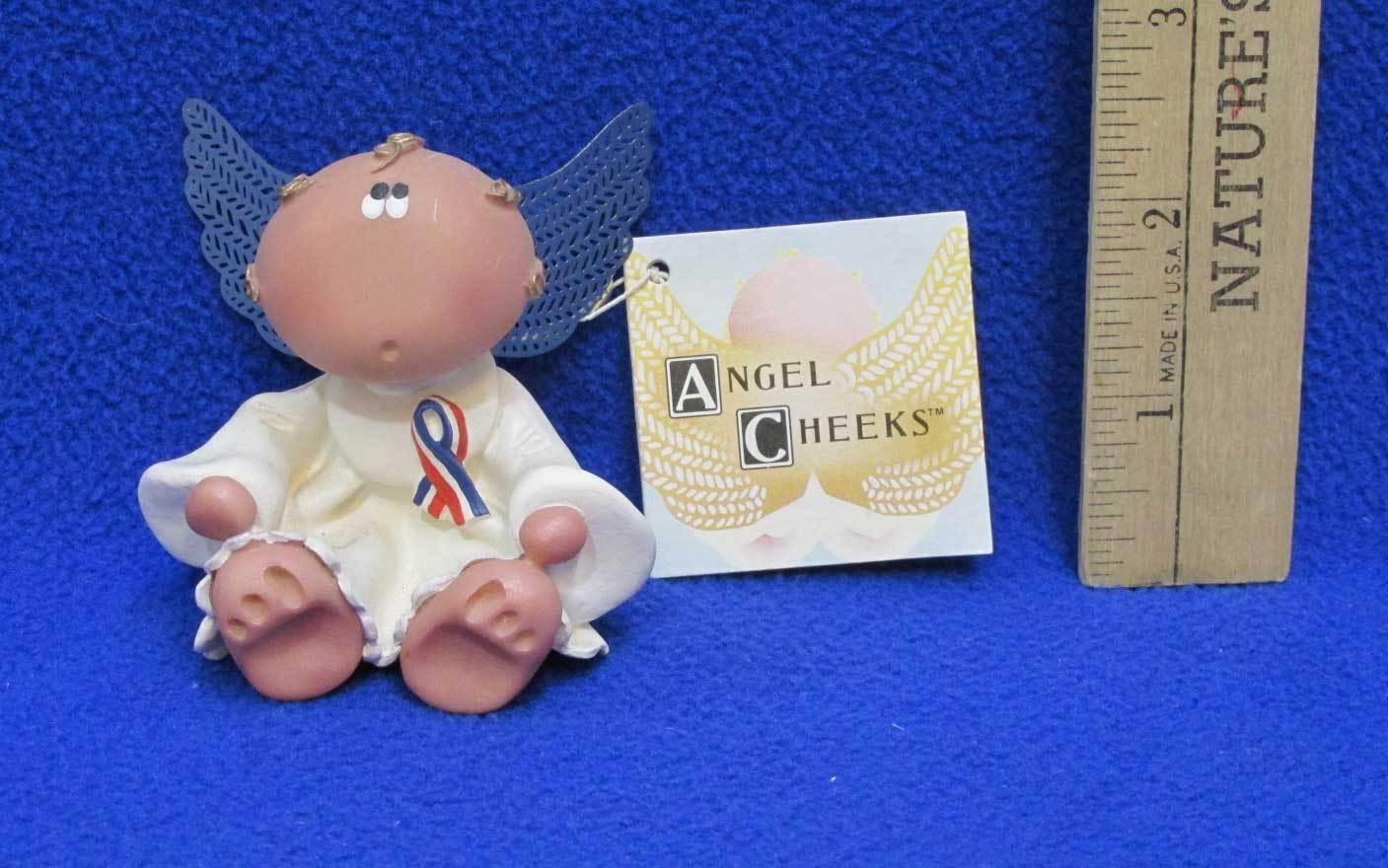 Angel Cheeks Figurine Angel w/ Ribbon Red White Blue Patriotic Russ Berrie NEW - $7.91