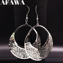 2019 Fashion Big Stainless Steel Drop Earrings for Women Jewelry Silver Color Fl - $16.72