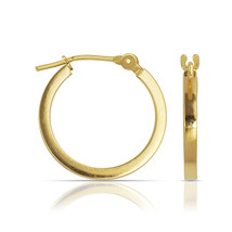 14K Yellow Gold High Polished Plain Snap Closure Hoop Earrings 12mm,14mm... - $141.56+