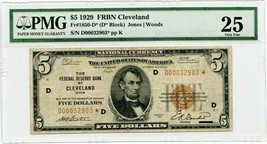 FR. 1850D* 1929 $5 FRBN Cleveland PMG Very Fine 25 - Seldom Seen Star Note - $349.20
