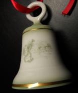 Royal Mosa Porcelain Bell Christmas Ornament Pale Green Illustrations Ne... - $6.99