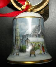Kaiser Porcelain Bell Christmas Ornament Winter Christmas Scene West Ger... - $6.99