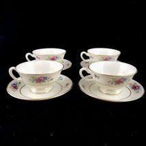 Lenox Rose Fine China Ivory Dresden Floral 4 Cups Saucers Made USA Retir... - $37.36