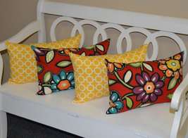 Set of 4 - In / Outdoor Lumbar Throw Pillows - Red Wilder Floral & Yello... - £35.72 GBP