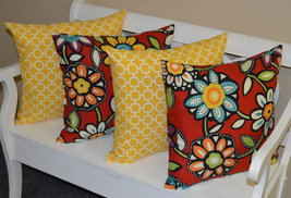 """Set of 4 - In / Outdoor 20"""" Red Wilder Floral & Yellow Hockley Throw Pil... - £50.02 GBP"""