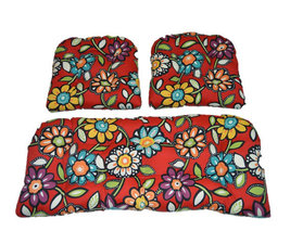 3 Piece Set - In / Outdoor Wicker Loveseat & Chair Cushions - Red Wilder... - £71.49 GBP