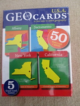 New in the Package USA Jumbo Geo Cards - 5 Games in One - $7.95