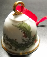 Hutschenreuther Bell Christmas Ornament Porcelain Holly Leaves Berries G... - $6.99