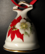 Sunrise Bone China Bell Christmas Ornament Red Poinsettias Made in Canada - $6.99