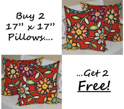 """Set of 2 - In / Outdoor 17"""" Red Wilder Floral Decorative Throw Pillows +... - £42.87 GBP"""