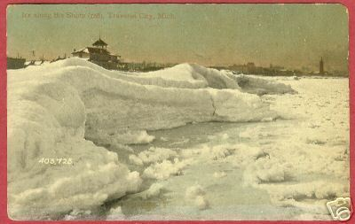 Primary image for TRAVERSE CITY MICHIGAN Ice Shore MI Souvenir PC