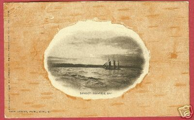 TRAVERSE CITY BAY MI Orson Peck Ship Birch Bark PC 1905
