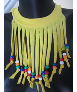Yellow Handmade T-shirt Fringe Necklace with Beads ~ Fun for kids and tweens  - €8,34 EUR