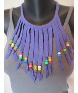 Purple Handmade T-shirt Fringe Necklace with Beads ~ Upcycled Fun - Kids, Tweens - €8,34 EUR