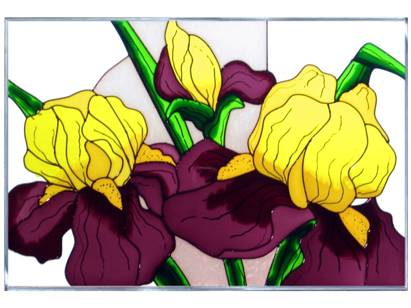 Stained glass iris yellow purple 20x14  v 292