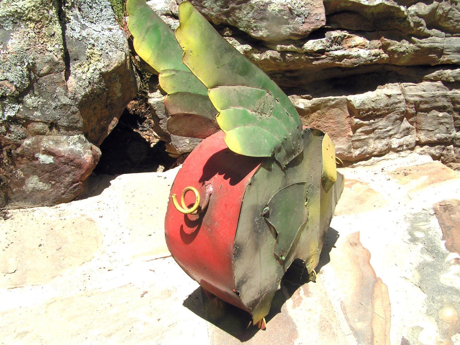 Metal Yard Art Flying Pig Recycled Junk Iron Garden 390 Bz