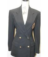 Vintage  Ralph Lauren Military Type Women Blazer Black Patch Gold Button... - $65.08