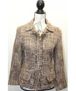 Perry Ellis Tweed Women Brown Blazer Size 8 Wool - $16.84