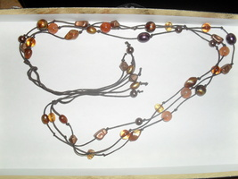 3 Strand Tie Up Necklace , Brown String with Earth Tone Colored Beads  - $3.00