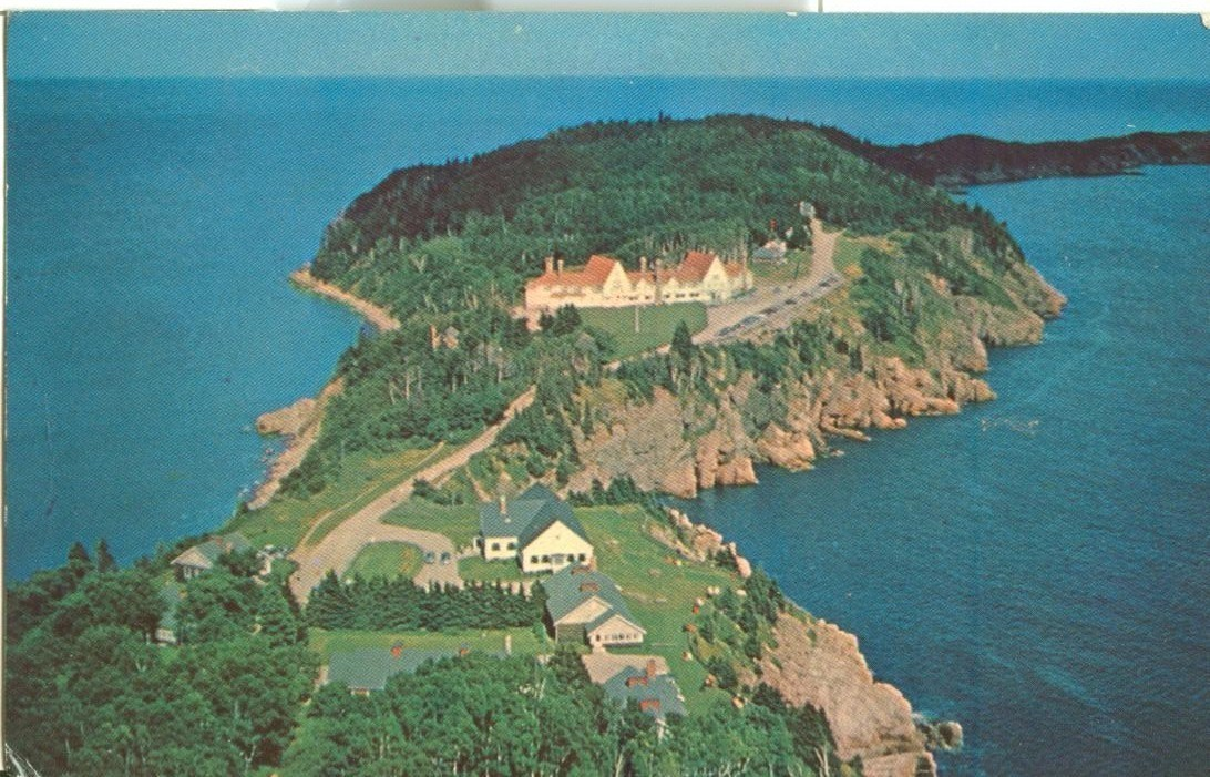 Canada, Aerial view of Keltic Lodge, Cape Breton Highland, Nova Scotia, postcard