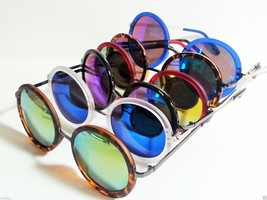 Round Multicolored Reflective Lens Sunglasses Steampunk Unisex - £6.30 GBP