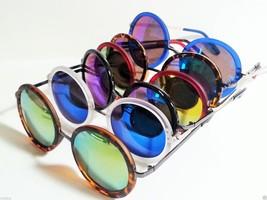 Round Multicolored Reflective Lens Sunglasses Steampunk Unisex - $8.79