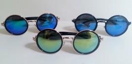 Round Sunglasses Stylish Large Retro Multicolored Lenses Fleur Di Lis Frame - $9.29