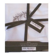 Kim Seybert Gray Silver Leaf Cocktail Napkins -... - $25.99