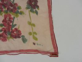 Vera Scarf Womens Pink Floral Rectangle Scarfs by Vera All Silk Handroll... - $29.69