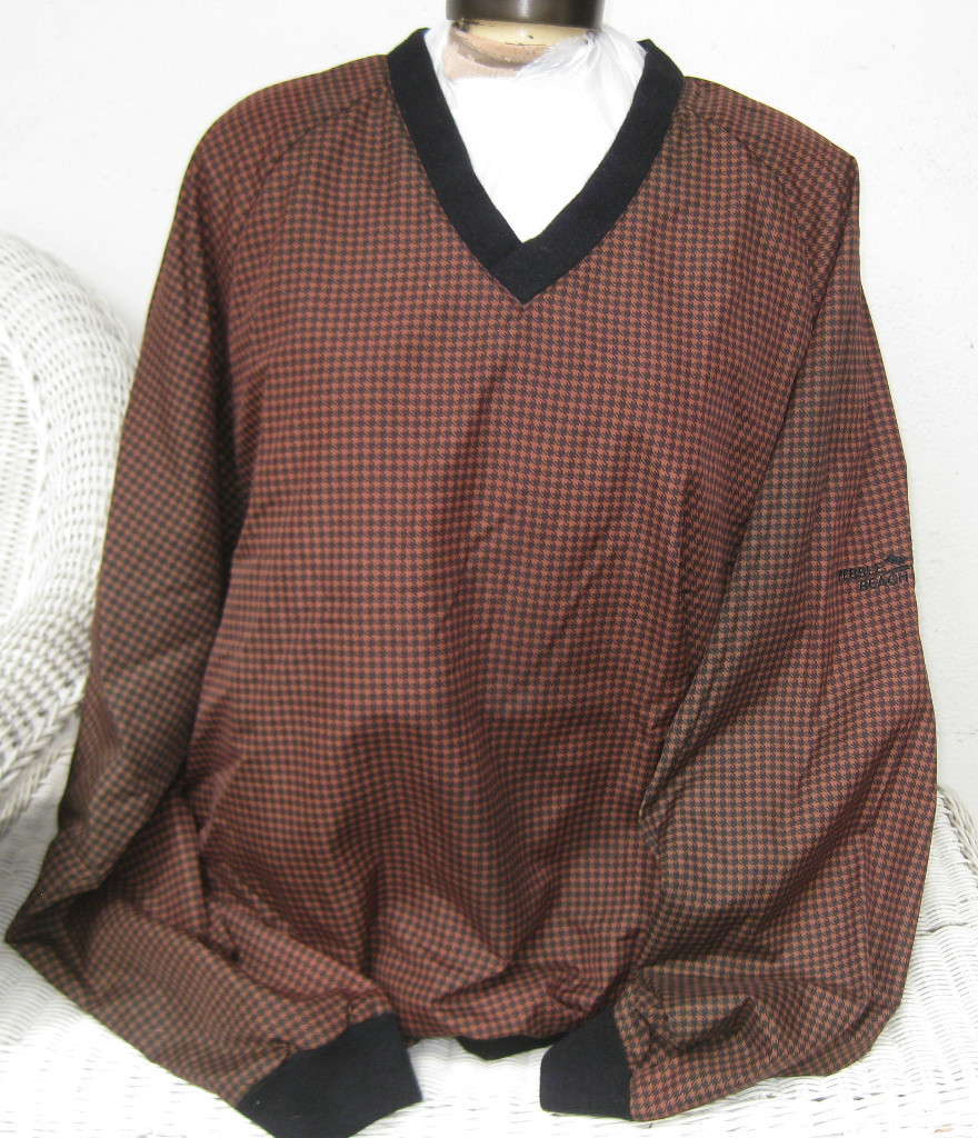 PEBBLE BEACH GOLF WINDSHIRT EXTRA LARGE BROWN & BLACK PLAID CHECKERED SHIRT