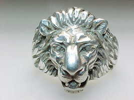 Vintage 14K WHITE GOLD Lion Head Ring -size  7 1/4- Free shipping with I... - £762.77 GBP