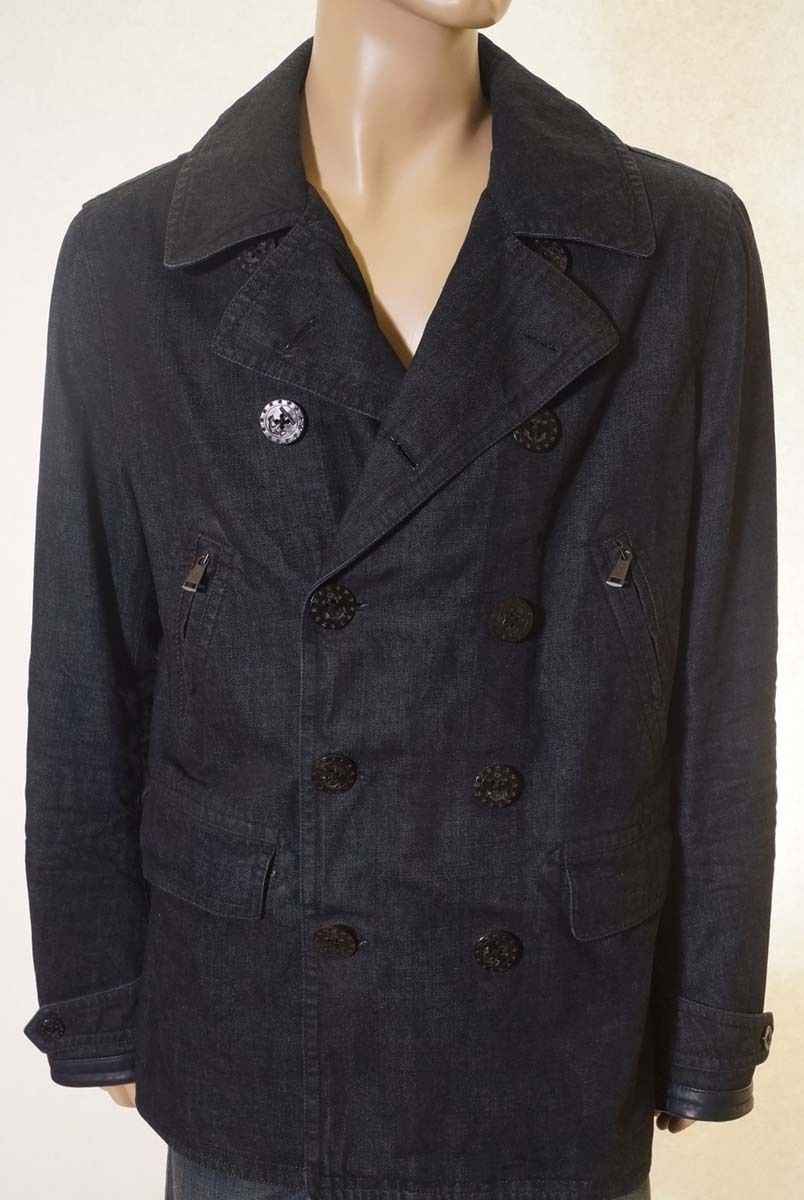 Ralph Lauren Black Label Men Waxed Denim Lined Peacoat Jacket Coat Italy L $1495